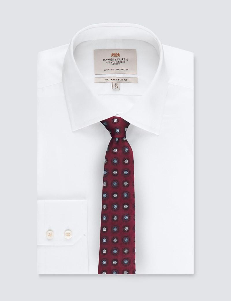 Men's Burgundy Geometric Medallions Tie - 100% Silk