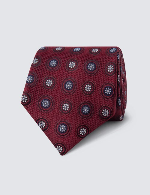 Men's Burgundy Geometric Medallions Tie - 100% Silk