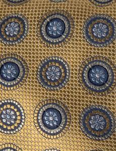 Men's Yellow Geometric Medallions Tie - 100% Silk