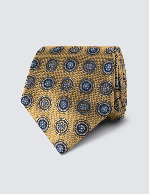 Men's Yellow Geometric Medallions Tie - 100% Silk