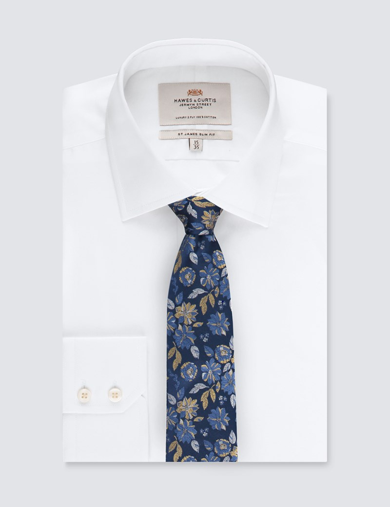 Men's Navy & Yellow Bold Floral Tie - 100% Silk