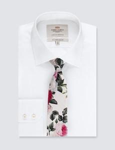Krawatte – Seide – Schmal – Baumwolle – Pfingstrosen