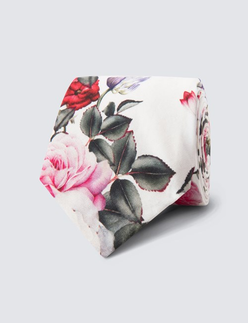 Men's White & Pink Floral Tie - 100% cotton