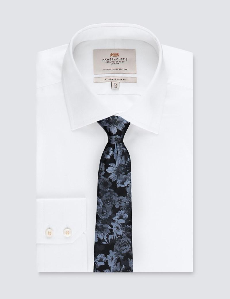 Men's Black & Light Blue Big Floral Tie - 100% Silk