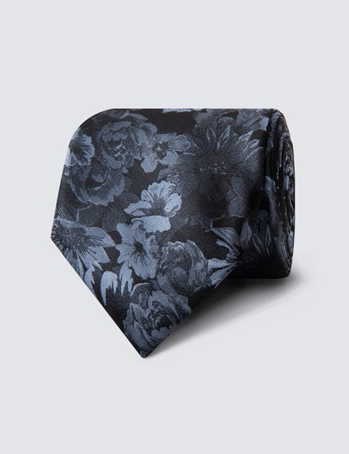 Men's Black & Light Blue Big Floral Tie - 100% Silk