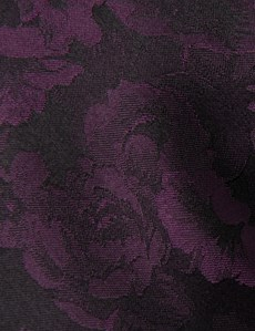 Men's Black & Purple Big Floral Tie - 100% Silk