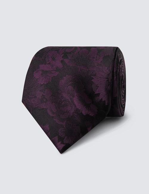 Krawatte – Seide – Schmal – Schwarz mit lila Blumen
