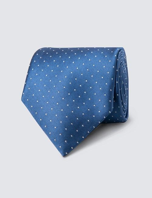 Men's Blue & White Pin Spot Tie - 100% Silk