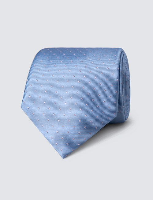 Men's Light Blue & Light Pink Pin Spot Tie - 100% Silk