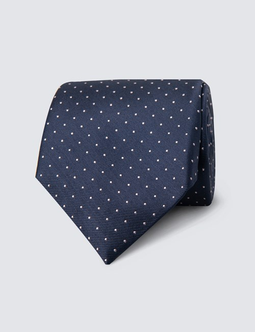 Men's Navy & Light Pink Pin Spot Tie - 100% Silk