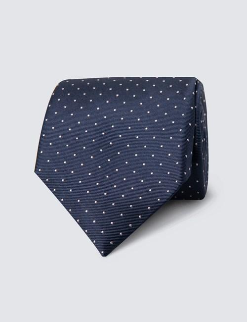 Krawatte –  Seide – Standardbreite – Navy & Rosa Pünktchen