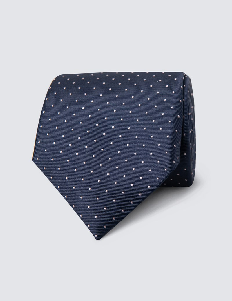 Men's Navy & Light Pink Pin Spot Tie - 100% Silk