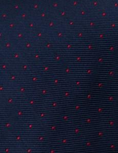 Men's Navy & Red Pin Spot Tie - 100% Silk