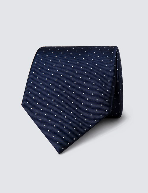 Men's Navy & White Pin Spot Tie - 100% Silk