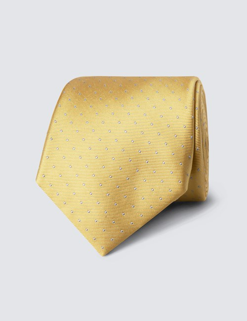 Men's Yellow & Light Blue Pin Spot Tie - 100% Silk