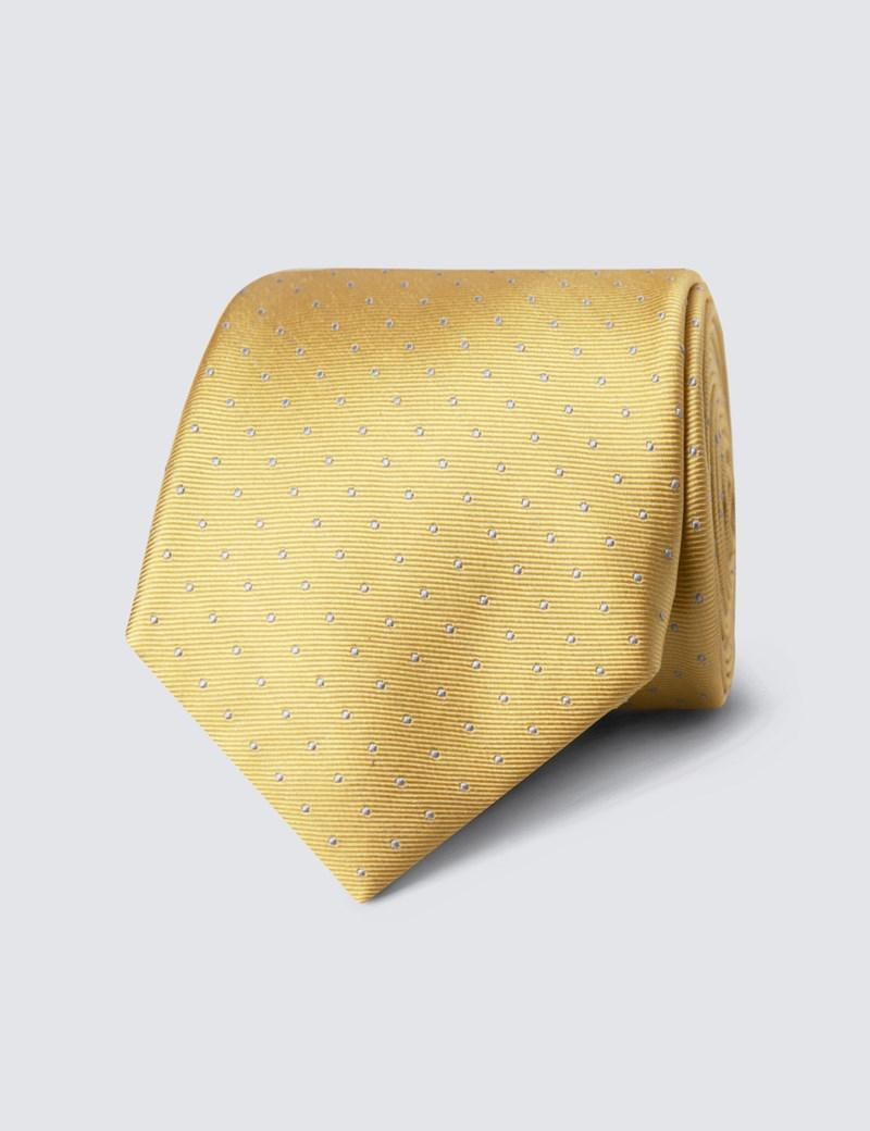 Men's Yellow & Light Blue Pin Spot Tie - 100% Silk