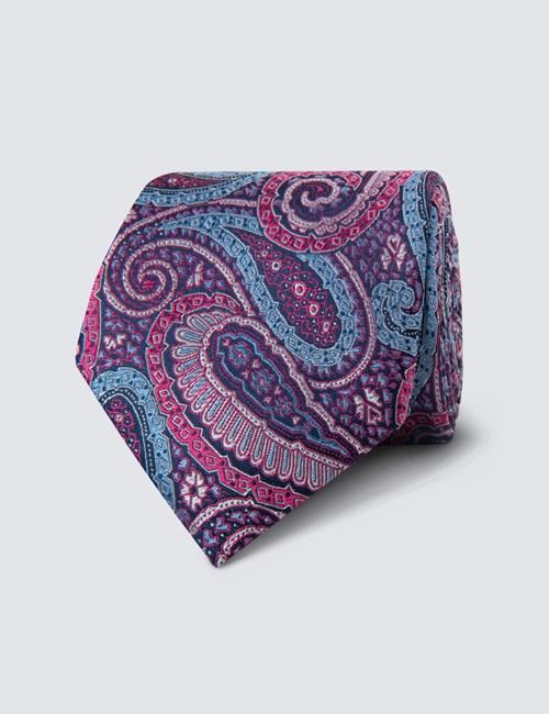 Men's Pink Bold Paisley Tie - 100% Silk