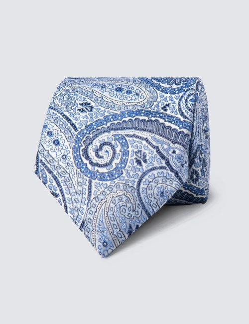 Men's Blue Bright Paisley Tie - 100% Silk
