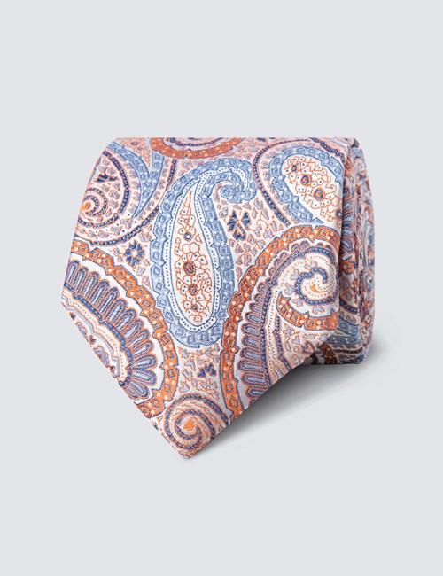 Men's Orange Bright Paisley Tie - 100% Silk