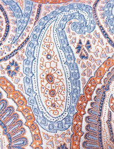 Men's Orange Bright Paisley Tie - 100% Silk