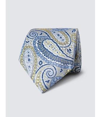 Men's Yellow Bright Paisley Tie - 100% Silk
