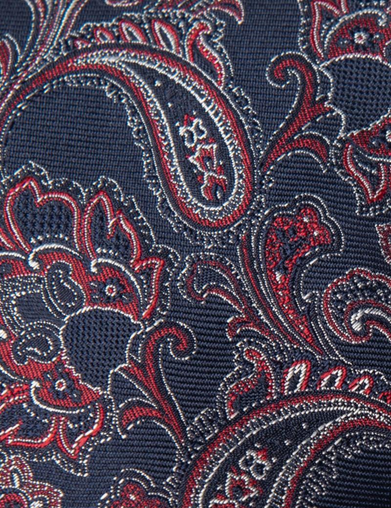 Krawatte – Seide – Standardbreite – Paisley marine & rot
