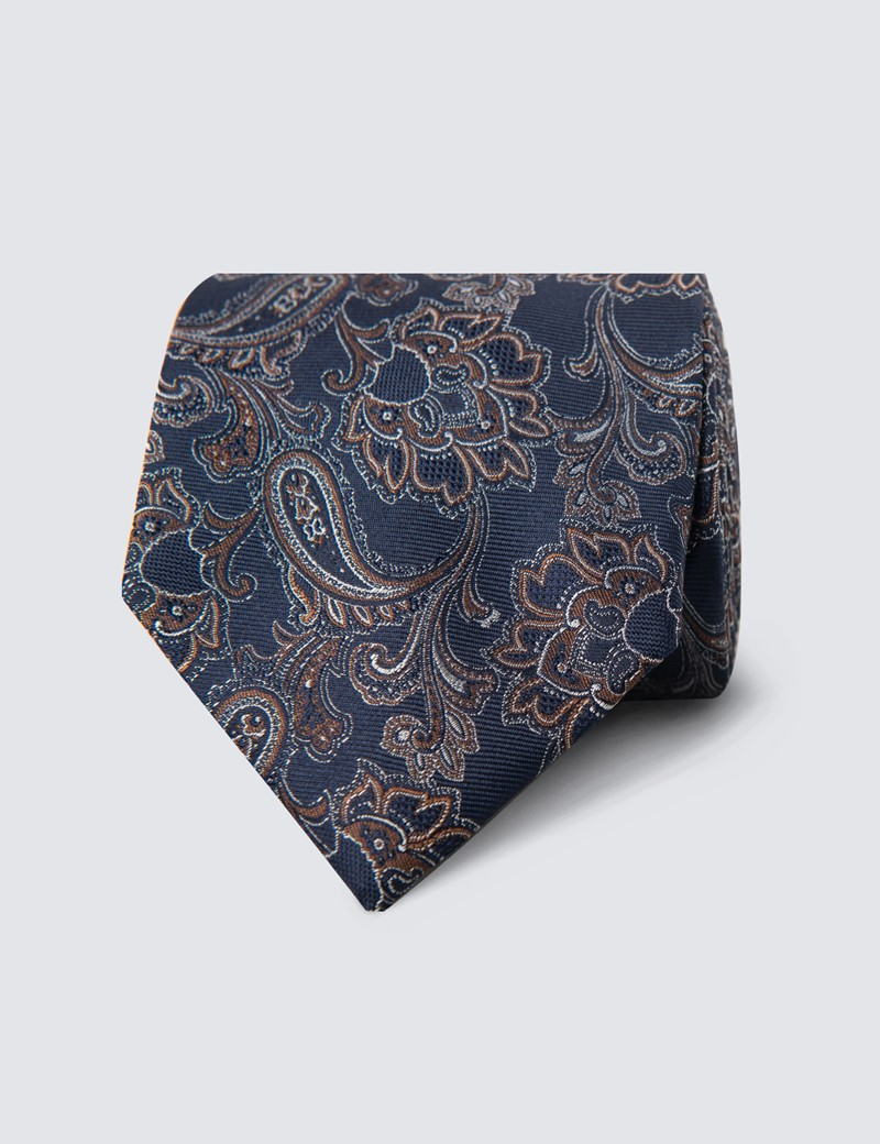Krawatte – Seide – Standardbreite – Paisley marine & braun