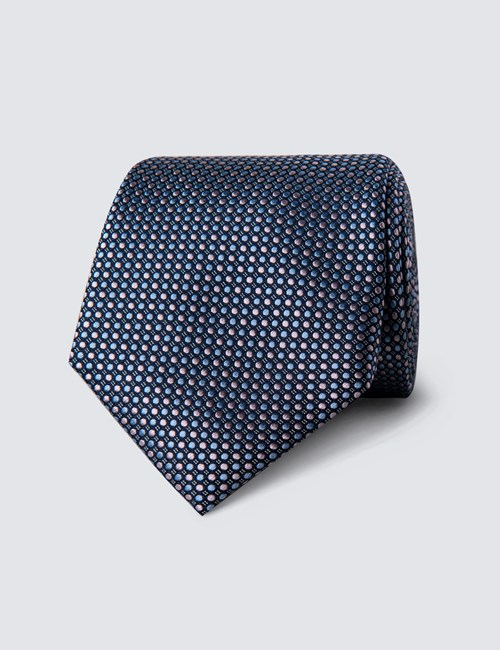 Men's Light Blue & Light Pink Two Tone Dots Tie - 100% Silk