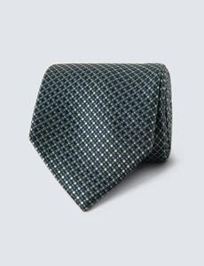 Krawatte – Seide – Standardbreite – Tupfendessin grün