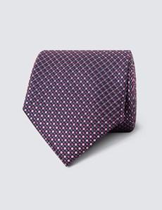 Krawatte – Seide – Standardbreite – Tupfendessin pink