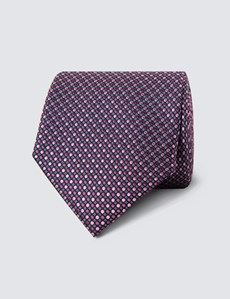 Men's Pink Two Tone Dots Tie - 100% Silk