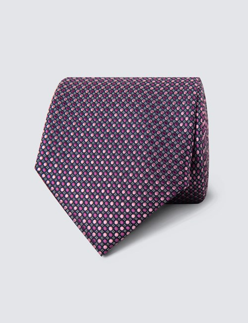 Men's Pink Two Tone Dots Tie - 100% Silk