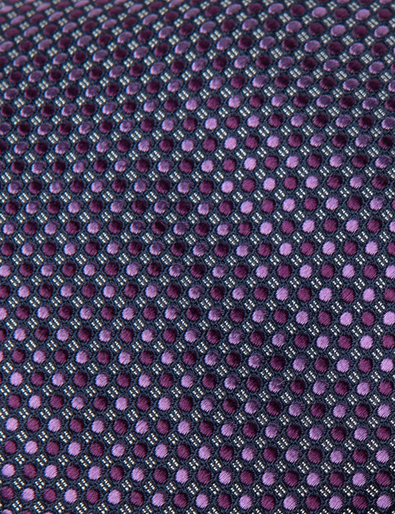 Men's Purple Two Tone Dots Tie - 100% Silk