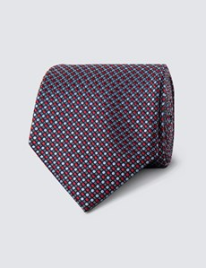 Men's Red & Blue Two Tone Dots Tie - 100% Silk