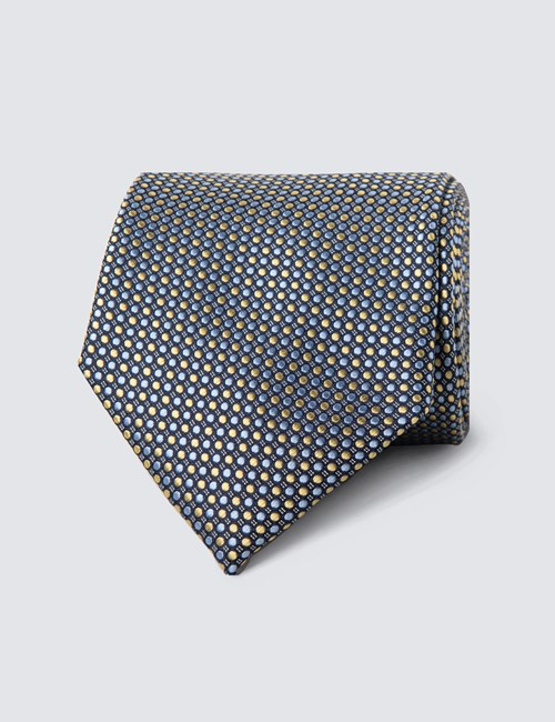 Men's Yellow & Light Blue Two Tone Dots Tie - 100% Silk