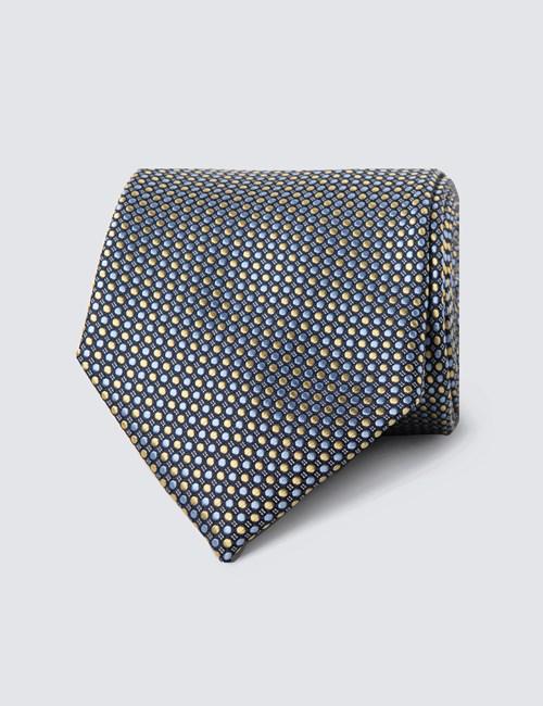 Krawatte – Seide – Standardbreite – Tupfendessin gelb & hellblau