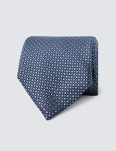 Men's Blue & Light Blue Two Tone Dots Tie - 100% Silk