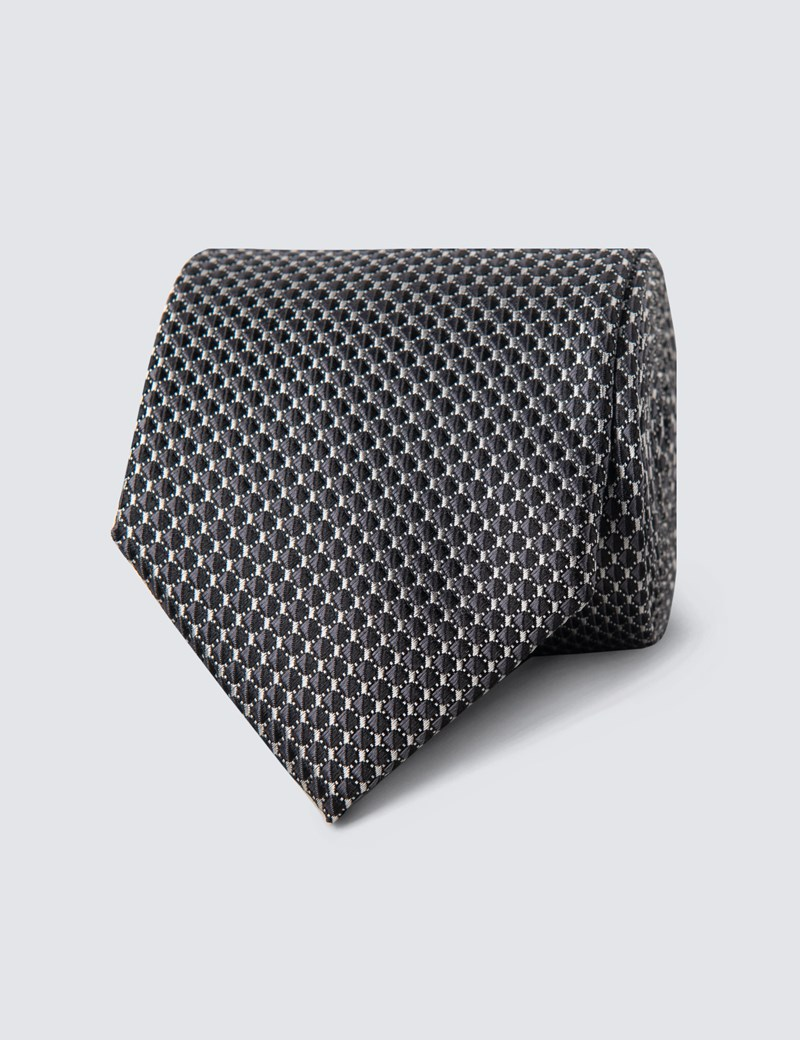 Men's Black Neat Squares Tie - 100% Silk