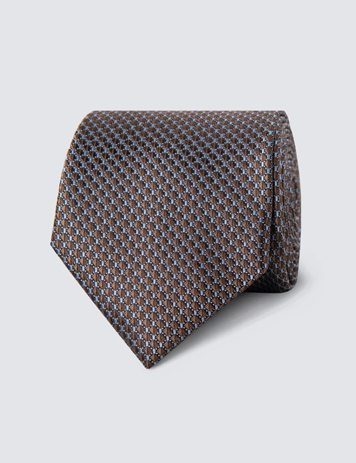 Men's Brown Neat Squares Tie - 100% Silk