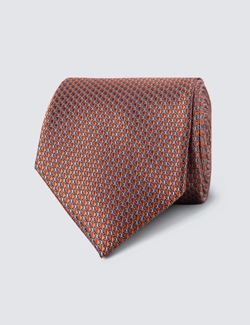 Men's Orange Neat Squares Tie - 100% Silk