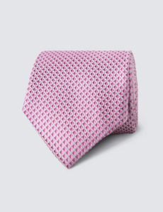 Men's Pink Neat Squares Tie - 100% Silk