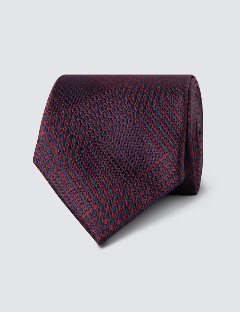 Krawatte – Seide – Standardbreite – Modernes Hahnentrittdesign rot