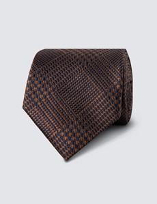 Krawatte – Seide – Standardbreite – Modernes Hahnentrittdesign braun