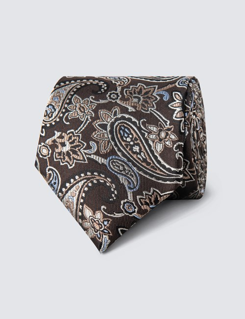 Men's Brown Big Paisley Tie - 100% Silk