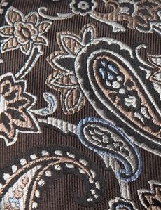 Men's Brown Big Paisley Tie - 100% Silk
