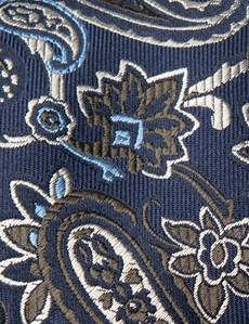 Men's Navy & Green Big Paisley Tie - 100% Silk