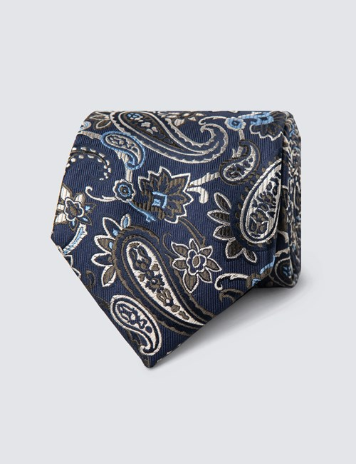Men's Navy & Green Big Paisley Tie - 100% Silk