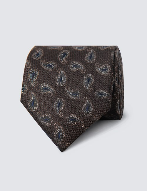 Men's Brown Textured Paisley Tie - 100% Silk