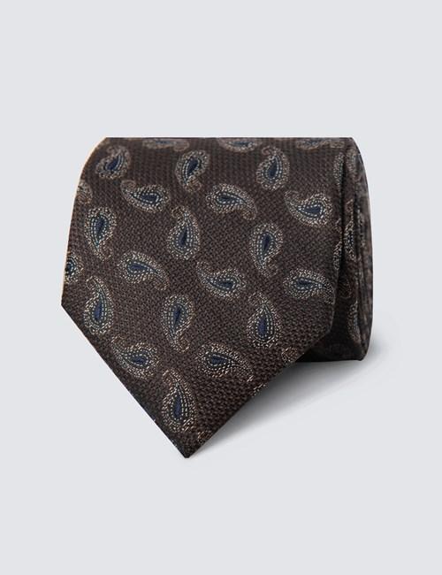 Krawatte – Seide – Standardbreite – Braun Paisley Blütenblatt