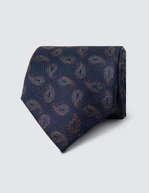 Men's Navy & Brown Textured Paisley Tie - 100% Silk